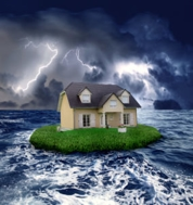 Cartoon house on a small island during a storm