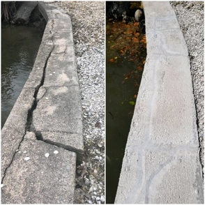before and after image of a repaired seawall