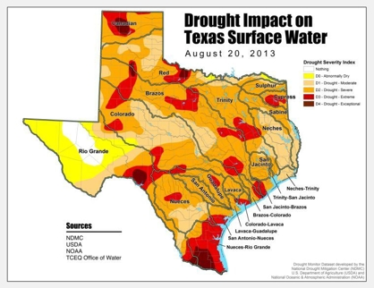 Drought in Texas map