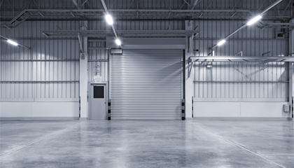 Concrete floors in warehouse