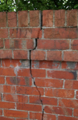 Cracked brick wall
