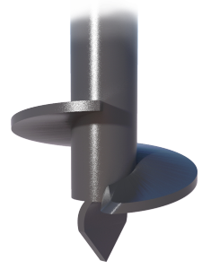 helical pile closeup to show twist tip and disc