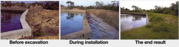 Seawall - Before, during, and after installation